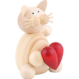 Cat Moritz with heart  -  8cm / 3.1inch