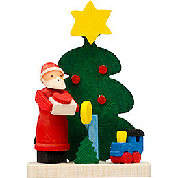Christbaumschmuck Baum - Weihnachtsmann mit Eisenbahn  -  6cm