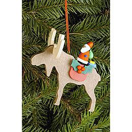 Christbaumschmuck Elch mit Weihnachtsmann  -  8,1x8,0cm
