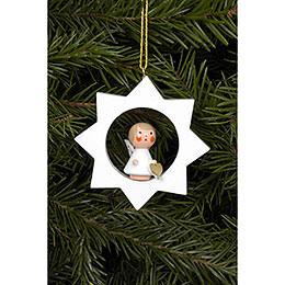Christbaumschmuck Engel im weißen Stern  -  6,0x6,0cm