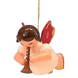 Christbaumschmuck Engel mit Flöte  -  Rote Flügel  -  schwebend  -  5,5cm