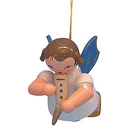 Christbaumschmuck Engel mit Gemshorn  -  Blaue Flügel  -  schwebend  -  5,5cm