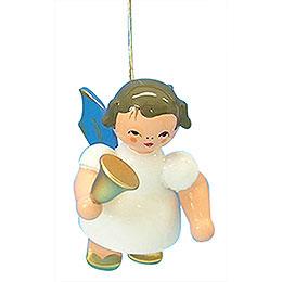 Christbaumschmuck Engel mit Glocke  -  Blaue Flügel  -  schwebend  -  6cm
