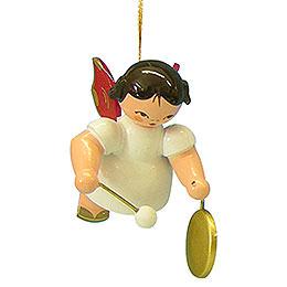 Christbaumschmuck Engel mit kleinem Gong  -  Rote Flügel  -  schwebend  -  5,5cm