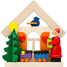 Christbaumschmuck Haus Weihnachtsmann mit Eisenbahn  -  7,5cm