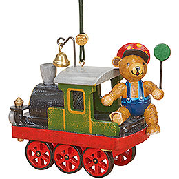 Christbaumschmuck Lok mit Teddy  -  5cm