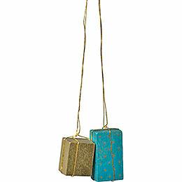 """Christbaumschmuck """"Pakete gold/türkis""""  -  4cm"""