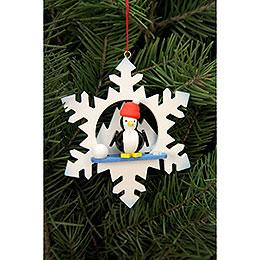 Christbaumschmuck  -  Schneeflocke Pinguin  -  9,0 x 9,0cm