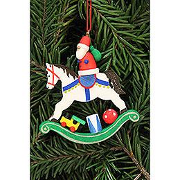 Christbaumschmuck Weihnachtsmann auf Schaukelpferd  -  6,8x7,1cm