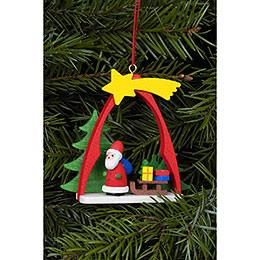Christbaumschmuck Weihnachtsmann im Bogen  -  7,4 x 6,3cm