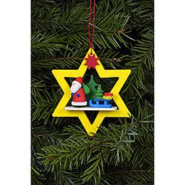 Christbaumschmuck Weihnachtsmann im gelben Stern  -  6,8 x 7,8cm