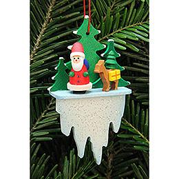 Christbaumschmuck Weihnachtsmann mit Bambi auf Eiszapfen  -  5,5x8,8cm