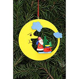 Christbaumschmuck Weihnachtsmann mit Schlitten im Mond  -  8,3x7,9cm