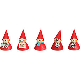 Christmas - Teeter, Set of five, 4cm / 1.6inch