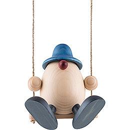 Egghead Father Bruno on Swing, Blue  -  15cm / 5.9 inch