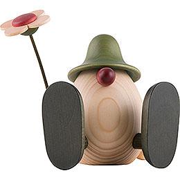 Eierkopf Erwin mit Blume sitzend, grün  -  11cm