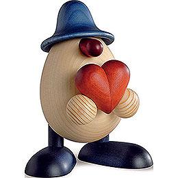 Eierkopf Hanno mit Herz, blau  -  11cm