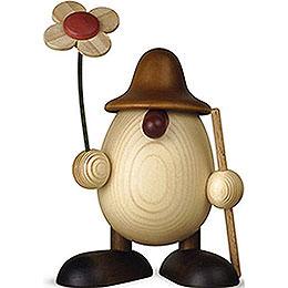 Eierkopf Rudi mit Blume und Stock, braun  -  11cm