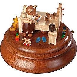 Electronic Music Box  -  Bear bed with good night stories  -  14cm / 5.5 inch