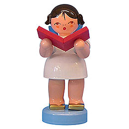 Engel mit Buch  -  Blaue Flügel  -  stehend  -  6cm