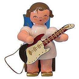 Engel mit E - Gitarre  -  Blaue Flügel  -  sitzend  -  5cm