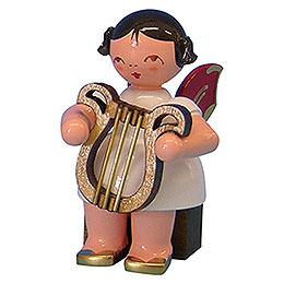 Engel mit Leier  -  Rote Fl�gel  -  sitzend  -  5cm
