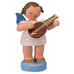 Engel mit Mandoline  -  Blaue Flügel  -  stehend  -  6cm