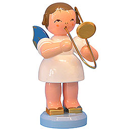 Engel mit Posaune  -  Blaue Flügel  -  stehend  -  9,5cm
