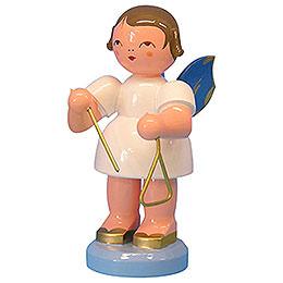 Engel mit Triangel  -  Blaue Flügel  -  stehend  -  9,5cm