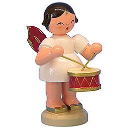 Engel mit Trommel  -  Rote Flügel  -  stehend  -  9,5cm