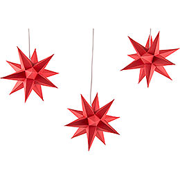 Erzgebirge - Palace Moravian Star Set of Three, Red  -  17cm / 6.7 inch
