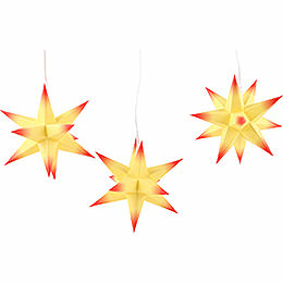 Erzgebirge - Palace Moravian star set of three, yellow core with red tips  -  17cm / 6.7inch