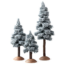 Fir tree with snow and trunk, set of three  -  17cm / 6.7inch