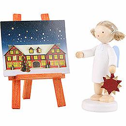 Flachshaarengel mit Adventsstern u.  - kalender  -  5cm
