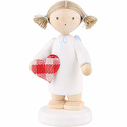 """Flax Haired Angel with Fabric Heart """"With All My Heart""""  -  5cm / 2 inch"""