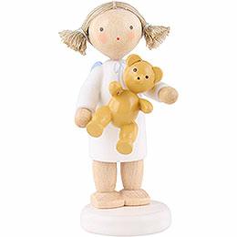 Flax Haired Angel with Teddy Bear  -  5cm / 2 inch
