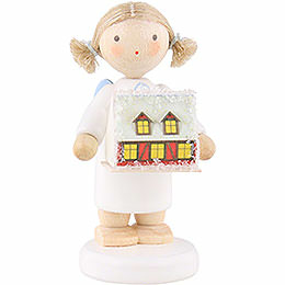 Flax Haired Angel with with Ore Mountain Light House  -  5cm / 2 inch