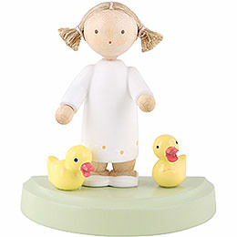 Flax Haired Children Girl with Two Ducklings  -  5cm / 2 inch