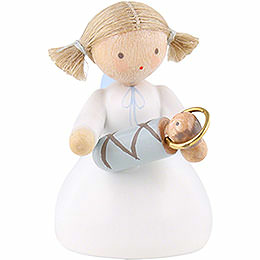 Flax haired angel sitting with the infant Jesus  -  5cm