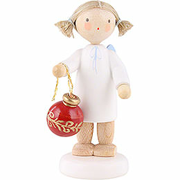 Flax haired angel with Christmas tree ball  -  5cm