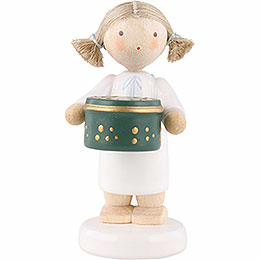 Flax haired angel with can with sweets, green  -  5cm