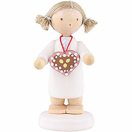 Flax haired angel with ginger bread heart  -  5cm