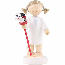 Flax haired angel with hobby horse  -  5cm