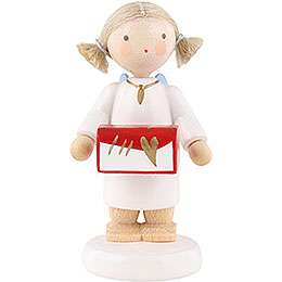 Flax haired angel with jewel case  -  5cm