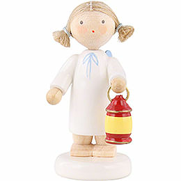 Flax haired angel with lantern  -  5cm