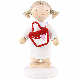 Flax haired angel with purse  -  5cm
