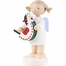 Flax haired angel with rocking horse  -  5cm
