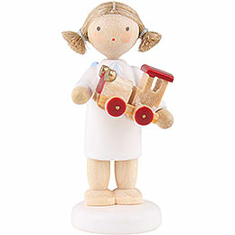 Flax haired angel with toy car  -  5cm