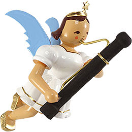Floating Angel with Basoon, Colored  -  9cm / 3.5 inch