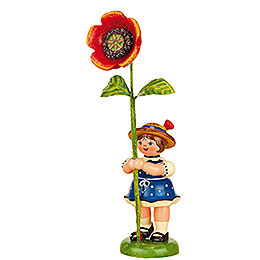 Flower Girl with Poppy  -  11cm / 4,3 inch